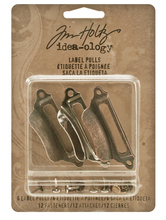 Metal Label Pulls with Fasteners by Tim Holtz Idea-ology, 6 per Pack, 1-3/16 x 2-1/4 Inches, Antique Finishes, TH93015(China)
