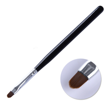 Oval Acrylic Nail Painting Pen UV Gel Drawing Brush Black Handle Manicure Nail Art Tool with Cap Decoration(China)