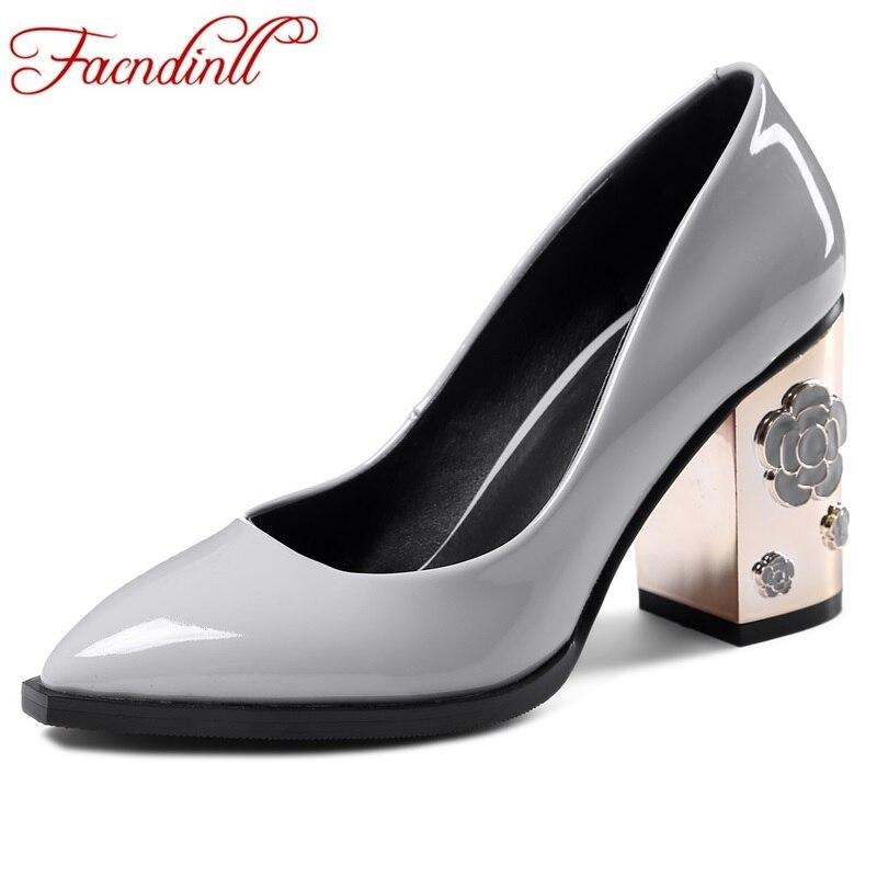 FACNDINLL 2017 fashion patent leather pumps fretwork high heels women platform dress casual shoes woman wedding shoes plus size<br>