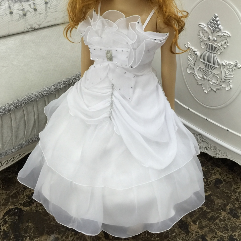 Free Shipping Wholesale 2018 New Arrival Flower Girl Dresses For Weddings Children Ball Gown White First Communion Dress Organza<br>