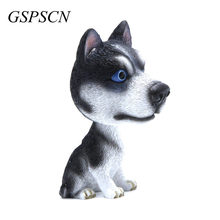 New Car Styling Resin Cute Dog Doll Husky Doll Car Nodding Dog Shake head Decoration Bobblehead Dog For Car Furnishing Articles