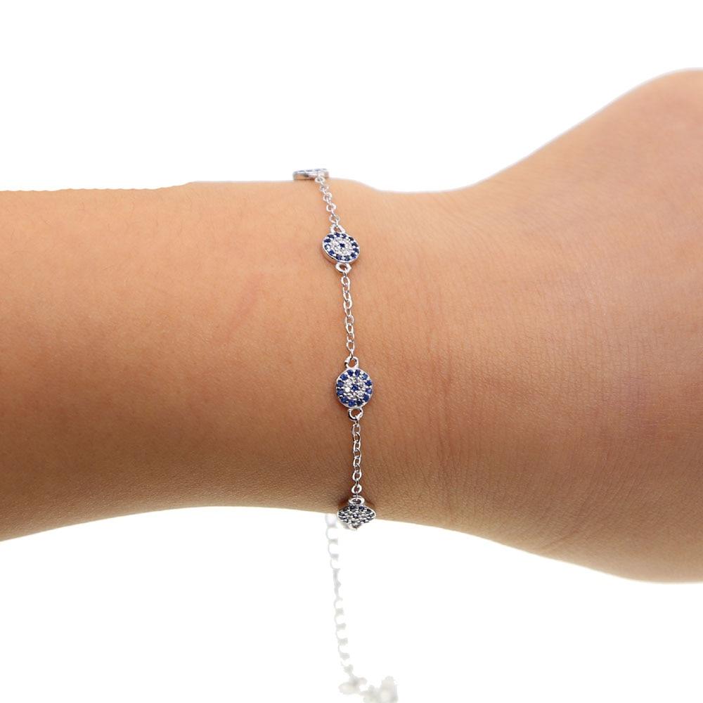100% 925 sterling silver turkish evil eye 5 pcs tiny cute evil eye disco charm women Girl silver delicate link chain bracelet (3)