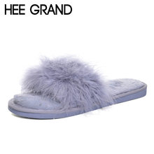 HEE GRAND Faux Fur Comfort Slippers Platform Sweet Solid Slides Winter Warm Casual Flats Shoes Woman Slip On Creepers XWT868(China)