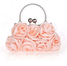 2017 New Women Floral Hobos Soft Flowers Day Clutches Lady Bridesmaid Hand Bags Evening Bag Sweet Pink Tote Smysfx-e0037