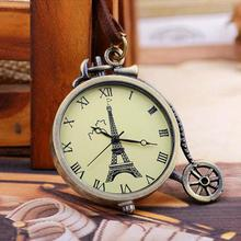 1pc Creative Necklace Retro Watch Eiffel European Fashion Eiffel Tower Pocket Bronze Fob Watch Wrist Horloge for Dropshipping(China)