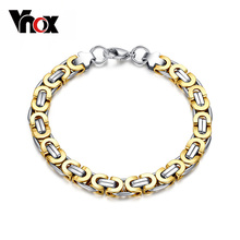 Vnox Stainless Steel Men Biker Chain Bracelet Bangle Jewelry High Quality free gift Box(China)