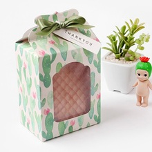 12.5*6.7*9.8cm 10 Pcs cute cactus Paper Box Wedding favor Christmas decoration Birthday Cookie Candy Chocolate Macaron packaging