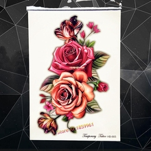 HOT 3D Pink Rose Temporary Tattoo Women Body Art Fake Tatoo Arm 21x15CM Large Sexy Arm Peony Waterproof Flash Tattoo Stickers(China)