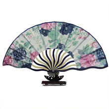 Free Shipping 18.5cm Portable Japanese style Satin Fabric single side Ladies Hand Held Folding Fan Crooked Bamboo Fan