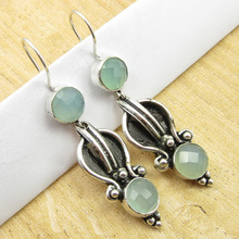 Silver Overlay, AQUA CHALCEDONY Earrings 2""