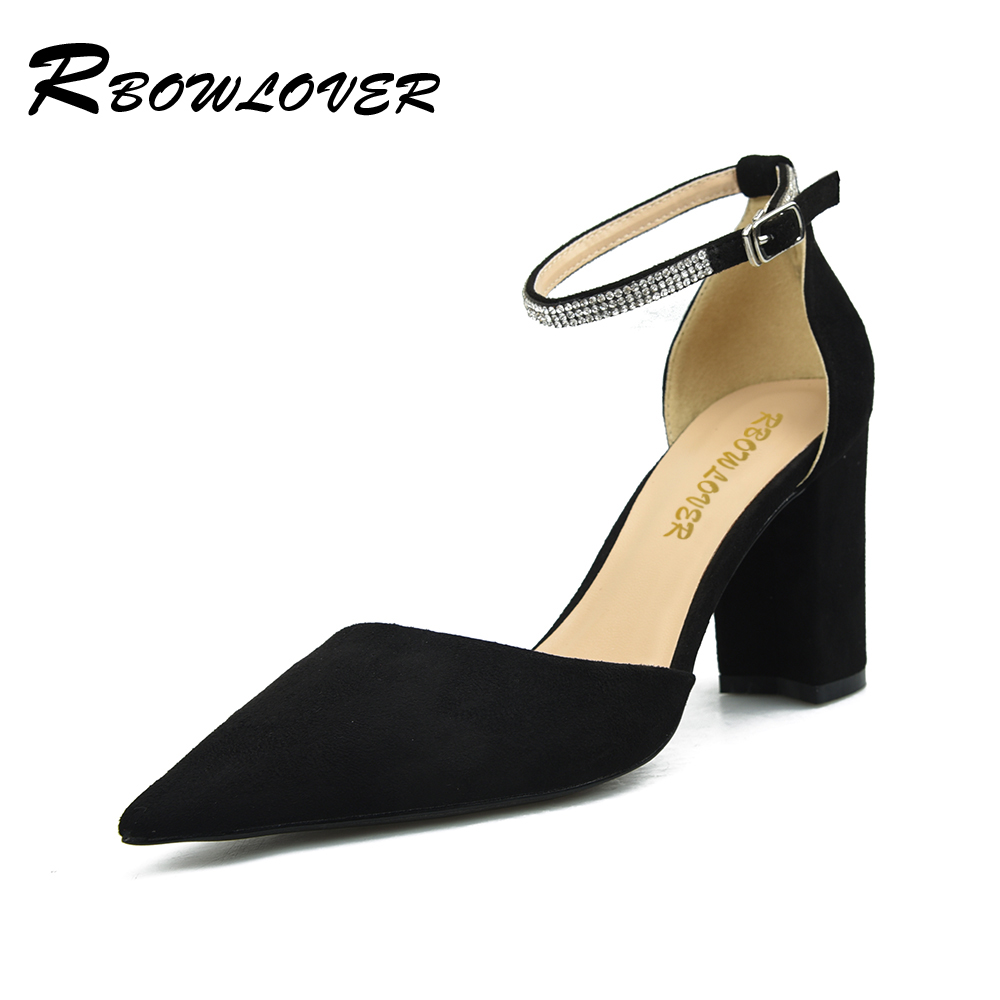 RBOWLOVER 2018 Women Flock Leather High Heels Mary Janes Ankle Straps with Rhinestone Square Heels Point Toe Dress Pumps<br>
