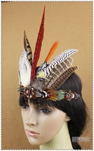 Free Shipping New Indian Tribal Chiefs Feather Headdress Hair Accessories Stage Performance Headwear Head Band For Costume Dance(China)
