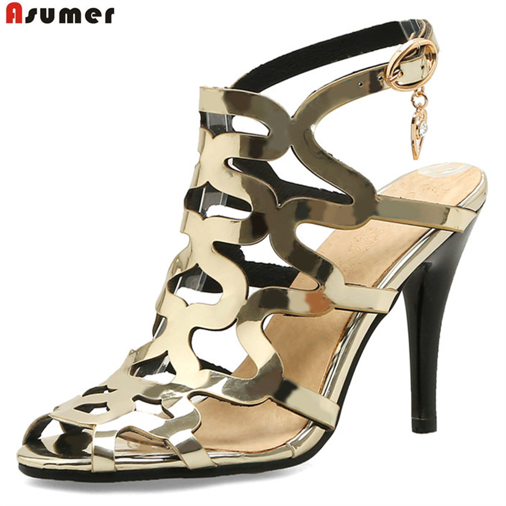 ASUMER gold light purple fashion summer ladies prom shoes peep toe buckle elegant super high women high heels sandals size 44<br>