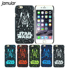 JAMULAR Darth Vader Star Wars Black Hard Scrub Case for iPhone 6 6s Plus 5 5s SE Covers Stereo starry sky for iphone 6s shell(China)