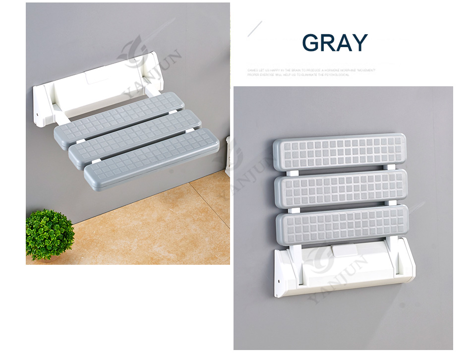 YANJUN Folding Wall Shower Seat  Wall Mounted Relaxation Shower Chair Solid Seat Spa Bench Saving Space Bathroom  YJ-2030