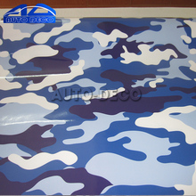 White Blue Camo Vinyl Car Wrap Camouflage Printed Vehicle Decorative Film with Air Bubble Free