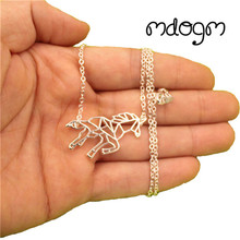 2017 New Cute Unicorn Fly Horse Animal Pendant Necklace Gold Silver Plated Jewelry For Women Male Female Punk Fashion Cartoon(China)