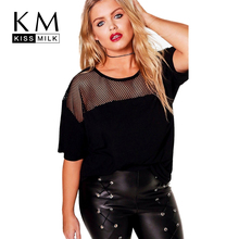 Kissmilk Plus Size 2017 Women Solid Black T-Shirt O-Neck Short Sleeve Mesh Semi-Sheer Casual Lady BasicTops Cut Out Female Tees(China)