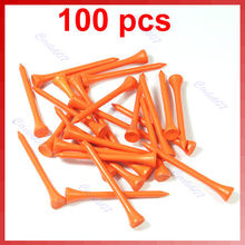 100 X 70mm Golf Ball Wood Tee Tees Orange Brand New