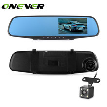"Onever 4.3"" Dual Lens 1080P FHD Dash Camera Car Rear View Mirror DVR Video Recorder Camcorder with Rear Camera 120 Wide Angle(China)"