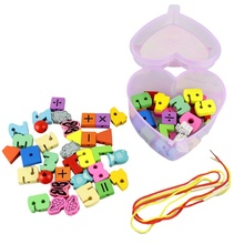 Hot Selling Unisex Baby Kid Heart Shaped Beads Mixed Animals Fruit Blocks Toy Safe Wood Educational Toys Gift for Kid great