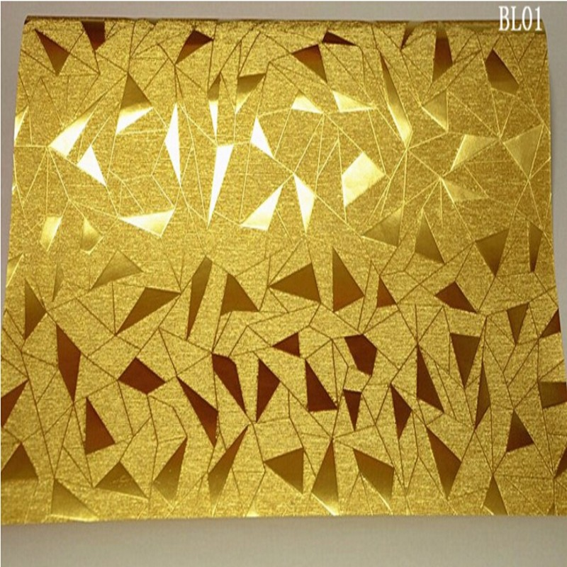 Beibehang Triangle irregular geometric pattern gold foil reflective 3D wallpaper Family decorated with bright gold 3D wallpaper <br>
