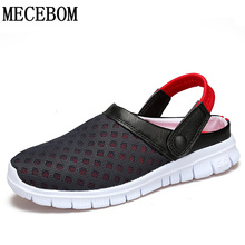 Fashion Big Size 36-46 Men's Summer Shoes Breathable Mesh Mens Slippers Lightweight Slip On footwear L927M(China)