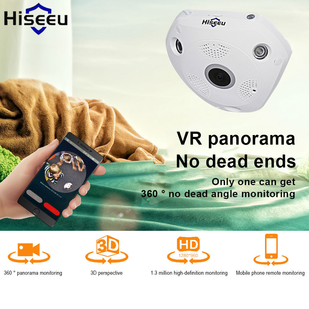 Hiseeu Mini Wifi Wireless Ip Camera Hd 720p 360 Degree E-PTZ Fisheye Baby Monitor CCTV Camera Video Storage Remote Drop Shipping<br>