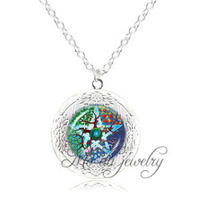 Silver chain long necklace tree of life pendant necklace glass dome pentagram tree jewelry round memory locket pendant bijoux