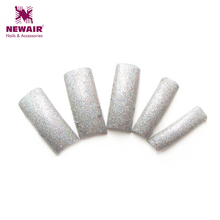 2016 Fall Winter Design Luxury Silver Glitter Nail Tips Fashion Decoration Nail French False Nails 70 Pcs/Lot Art Tips(China)