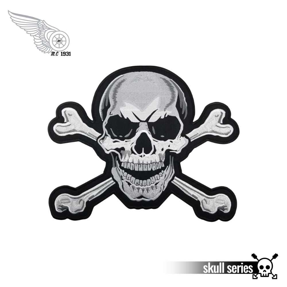 28cm skull bones embroidery iron on patch for vest clothing application cool biker motorcycle patch