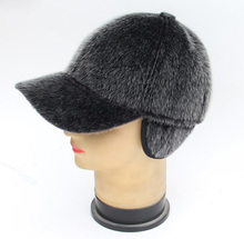 HARPPIHOP FUR Genuine leather mink hair hat male cap baseball cap winter warm hat ear belt