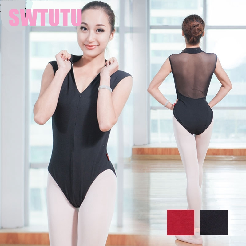 Adult mock turtleneck zip front back powermesh training dance costume leotards girls ballerina ballet leotards CS0160