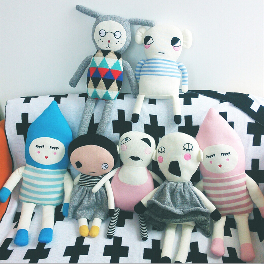 47cm 70cm lucky boy sunday High quality Cute Knitting wool Plush Toys Baby Sleep Doll appease Toys Child birthday Christmas Gift(China (Mainland))