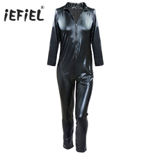 Fashion New Style Long Sleeve Men Black Patent Leather Wetlook Front Zipper Catsuit Bodysuit Jumpsuit Clubwear Costume Body Suit(China)