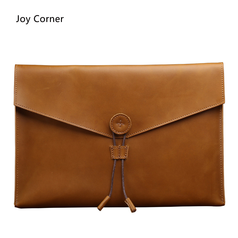 Joy Corner Drop Shipping Business Fashion Document Bag Leather Retro File Storage Genuine Leather For Papers Files<br>