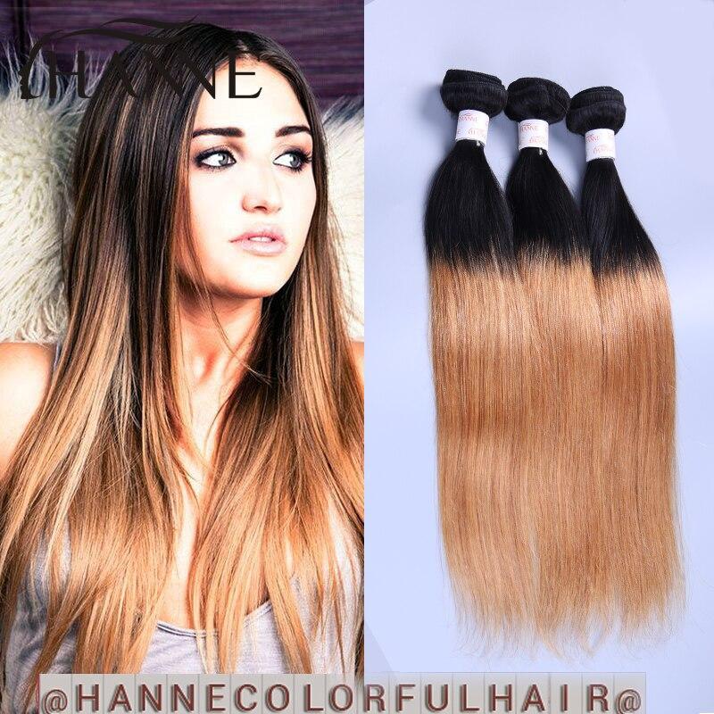 Dark root honey blonde Brazilian hair weave 1b 27 straight ombre human hair 7A Ombre virgin hair colored honey blonde weft<br><br>Aliexpress