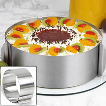 Retractable Stainless Steel Circle Mousse Ring Mould Baking Tool Set Cake Mold Size Adjustable Bakeware @LS