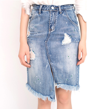 2017 New European Summer High Quality Stylish Casual Bodycon Slim Asymmetrical Spilt Denim Skirts with Dots Holes and Tassels