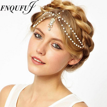Wedding hair jewelry Hair chain accessory for boho Head ornaments brides jewels beach wedding head piece(China)