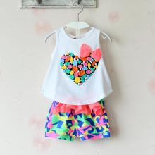 Korean baby Girl Heart dress bow kids Cotton Flower Bow summer Vest blouse Short Clothing Polyester Children Sets OutfitS 6-12Y
