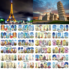 12 Sheets Nail Art Water Transfer Sticker Full Cover Decals French Eiffel Tower Pisa Italy Design Stickers Wrap Tips Decoration