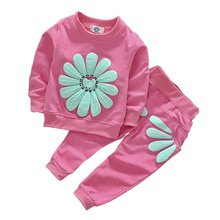 2017 Autumn Newborn Baby Girls Sports 2pcs Set Sunflower Casual Costume Hoodies Children Clothing Suit 1-4Y