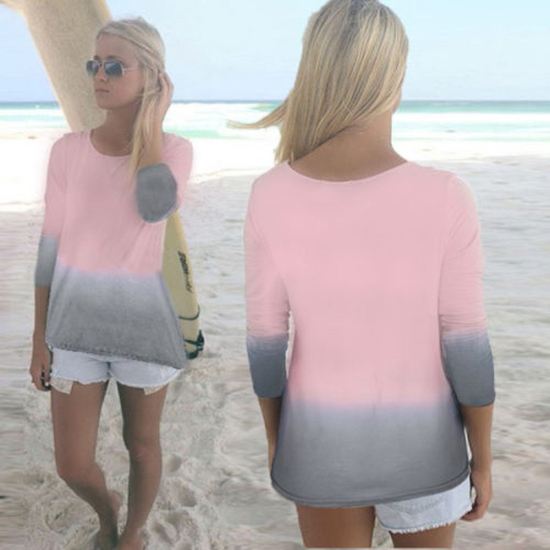 ETOSELL Summer Casual Lady Tops Women Patchwork Three Quarter Sleeve O-neck T-shirt Loose Female Tees Tops Plus Size Shirts