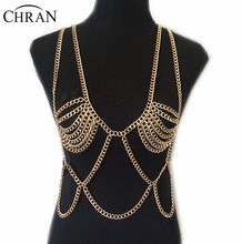 Chran New Fashion Hot Sexy Beach Chain Wear Necklace&Pendant Jewelry Gold Silver Multi layer Chain Bra Necklaces For Women BY345(China)