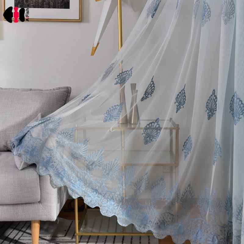 Embroidered Blue Floral Curtains Voile Delicate Lace Sheer Fabric Living Room Bedroom Balcony French Window Blind Contina WP024C