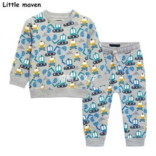 Little maven brand children's clothing sets 2017 autumn boys terry cotton excavator print long sleeve T shirt + pants 20149(China)