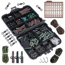 Pisfun 187Pcs/set Carp Fishing Accessory Set Carp Tubes Safety Clips Hooks Swivels Kit Hair rigs With Hard Plastic Tackle Box