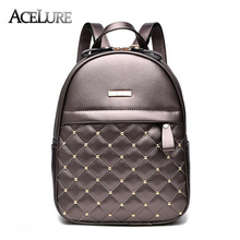 ACELURE Women Backpack Hot Sale Fashion Causal bags High Quality bead female shoulder bag PU Leather Backpacks for Girls mochila(China)