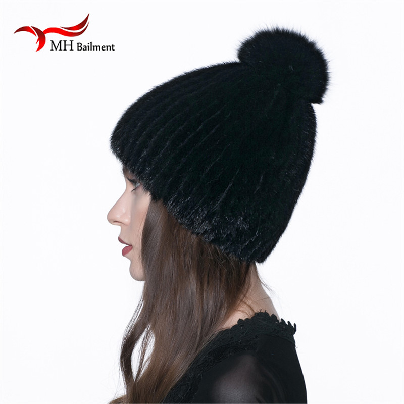 Women Hot Mink Fur Knitted Hat Winter Warm Knitted Real Mink Fur Hat  Fox Fur Ball Pom Poms Thick Warm Hat Casual Beanies H#35Одежда и ак�е��уары<br><br><br>Aliexpress
